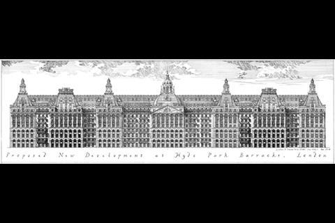 Hyde Park Barracks replacement - elevation by Francis Terry